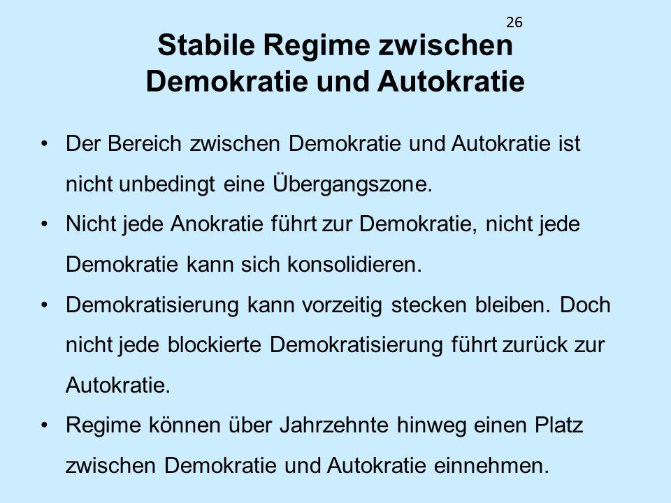 Stabile Regime zwischen Demokratie und Autokratie