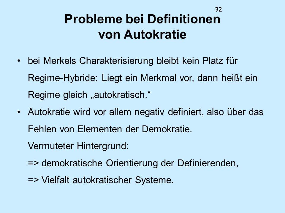 Probleme bei Definitionen von Autokratie