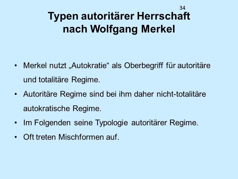 Typen autoritärer Herrschaft nach Wolfgang Merkel