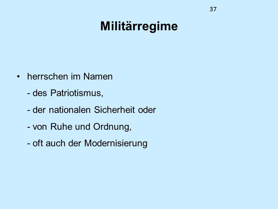 Militärregime herrschen im Namen - des Patriotismus,