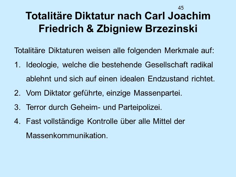 Totalitäre Diktatur nach Carl Joachim Friedrich & Zbigniew Brzezinski