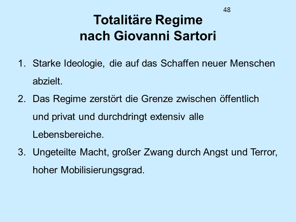 Totalitäre Regime nach Giovanni Sartori