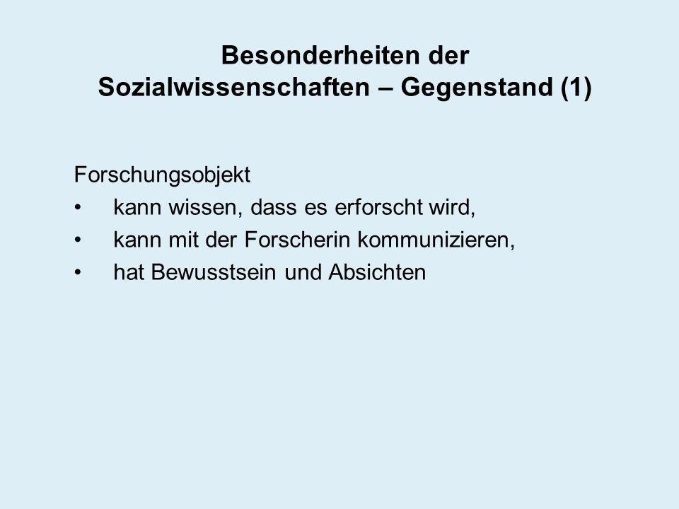 Besonderheiten der Sozialwissenschaften – Gegenstand (1)
