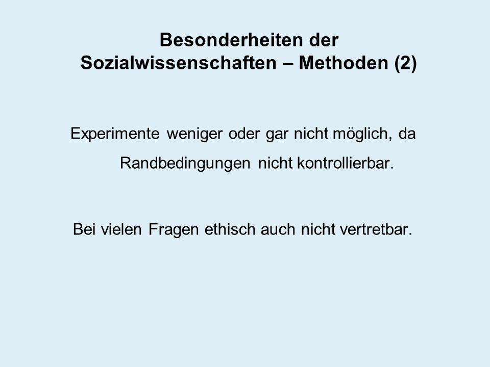 Besonderheiten der Sozialwissenschaften – Methoden (2)