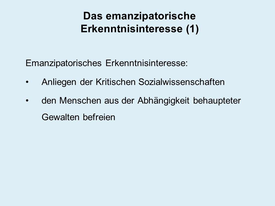 Das emanzipatorische Erkenntnisinteresse (1)