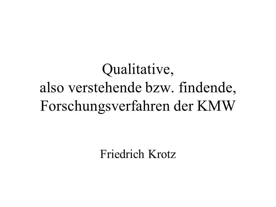 Qualitative, also verstehende bzw