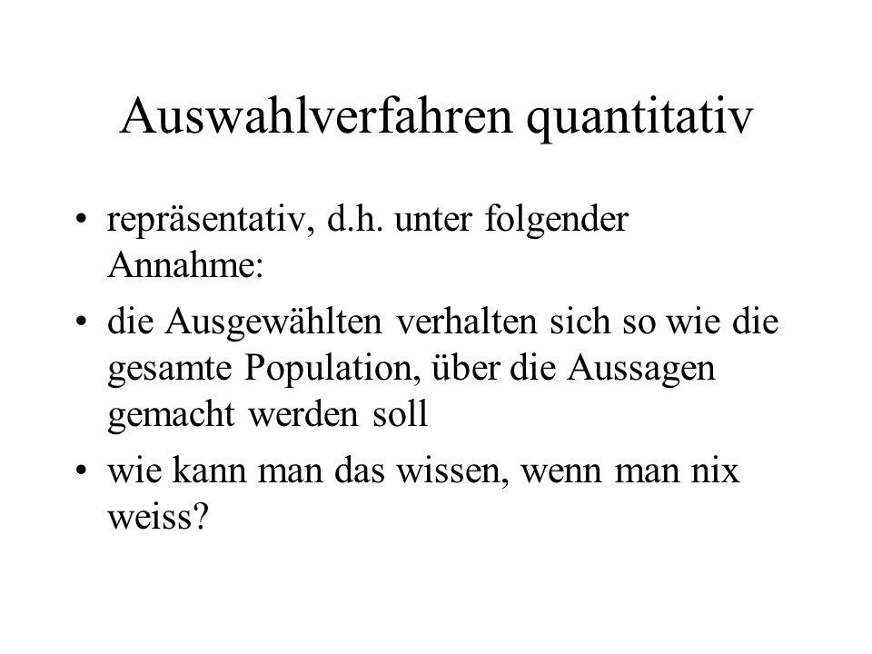 Auswahlverfahren quantitativ