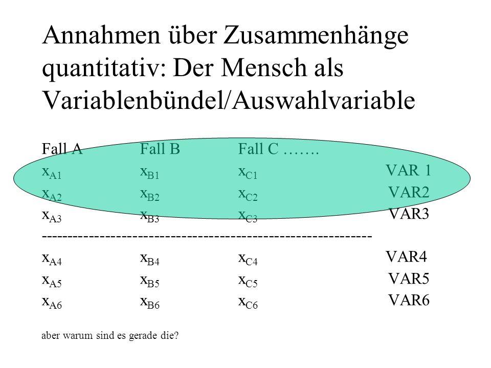 Annahmen über Zusammenhänge quantitativ: Der Mensch als Variablenbündel/Auswahlvariable