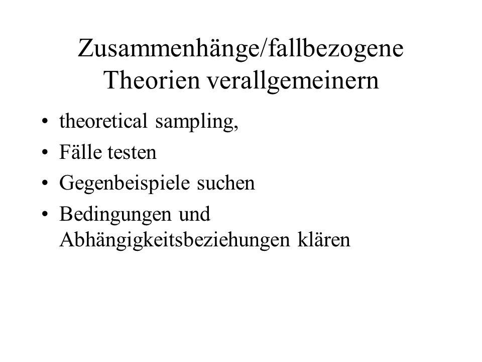 Zusammenhänge/fallbezogene Theorien verallgemeinern