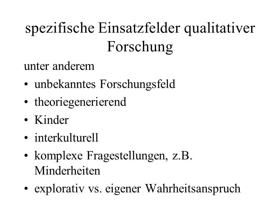 spezifische Einsatzfelder qualitativer Forschung
