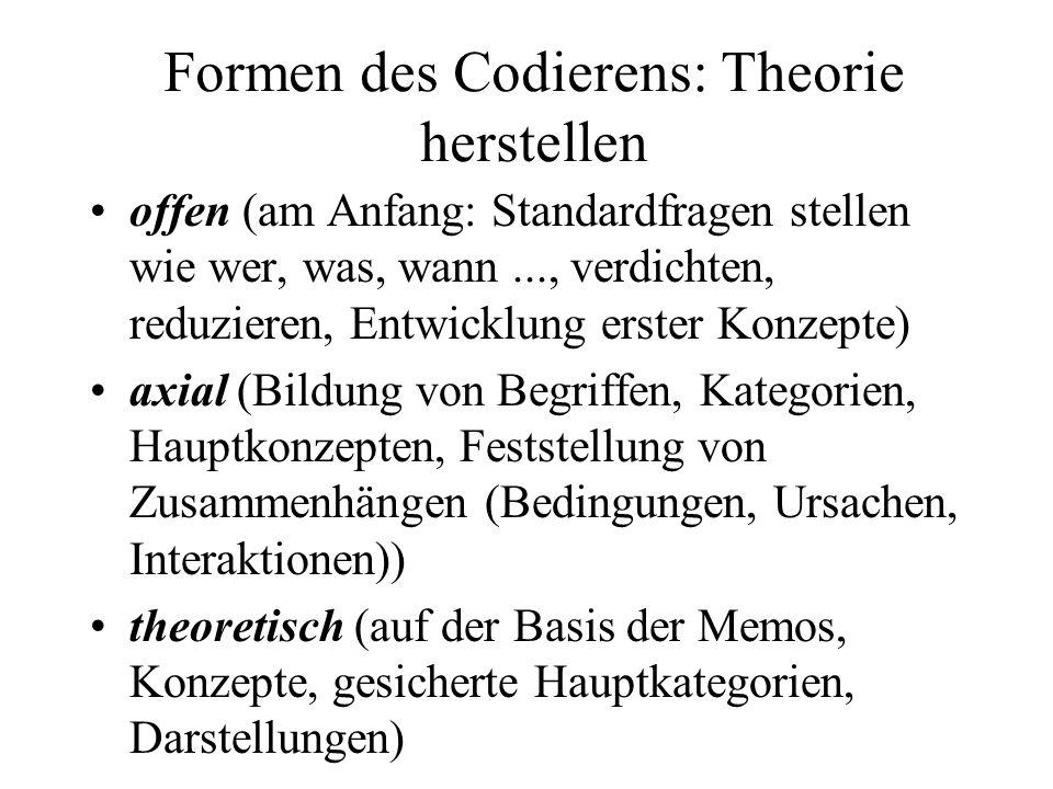 Formen des Codierens: Theorie herstellen