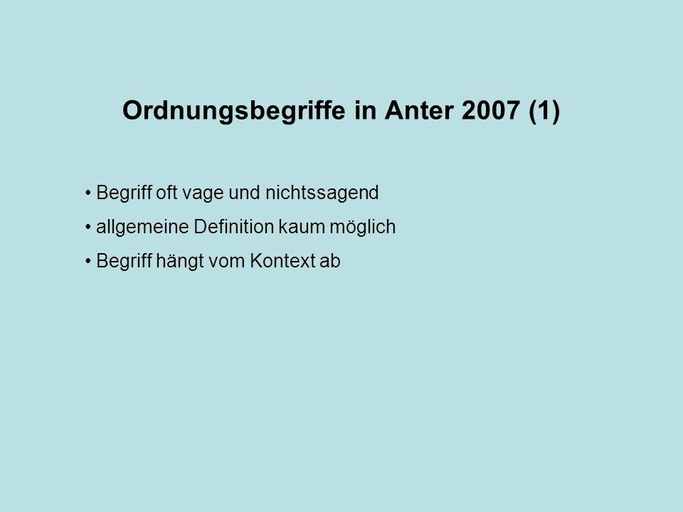 Ordnungsbegriffe in Anter 2007 (1)