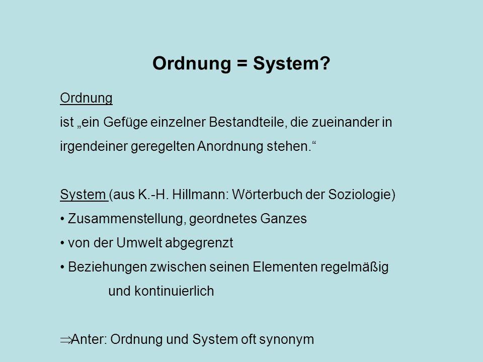 Ordnung = System Ordnung