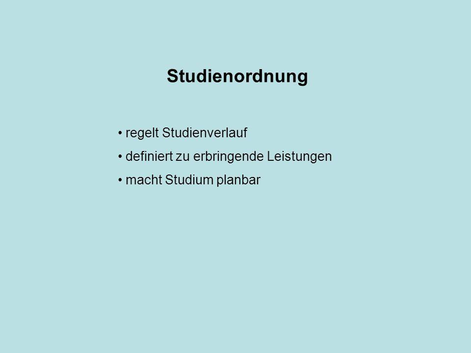 Studienordnung regelt Studienverlauf