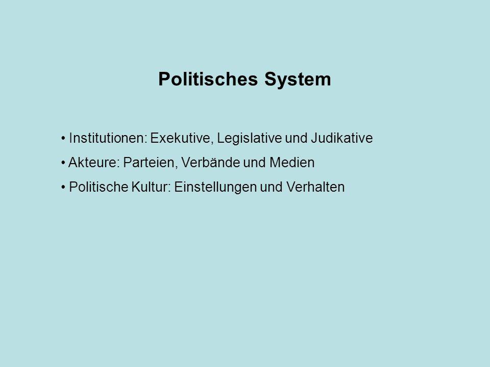 Politisches System Institutionen: Exekutive, Legislative und Judikative. Akteure: Parteien, Verbände und Medien.