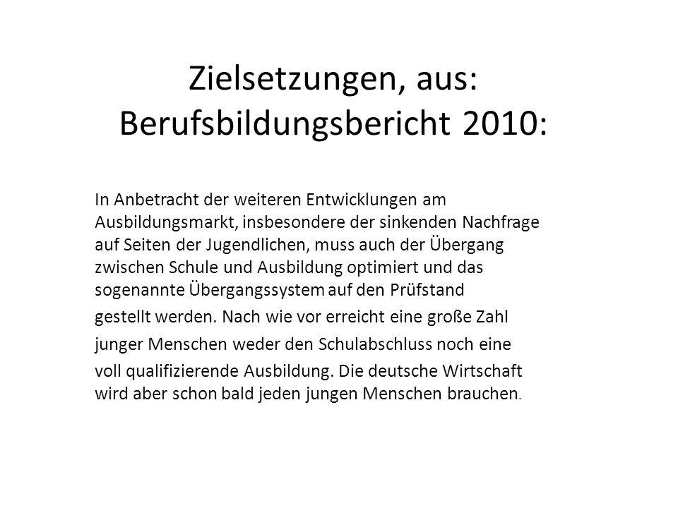 Zielsetzungen, aus: Berufsbildungsbericht 2010: