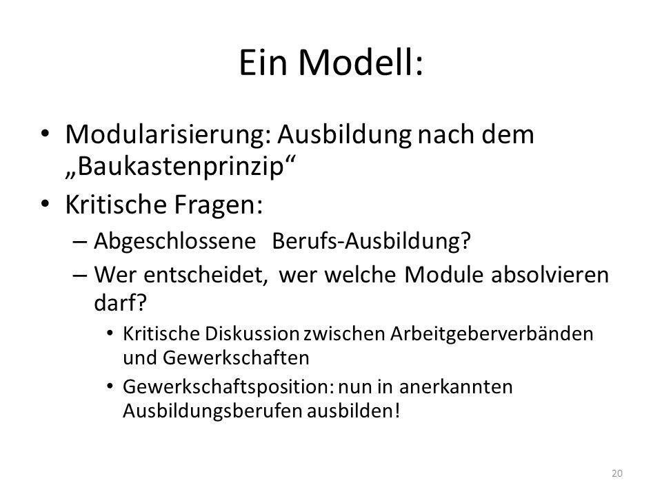 """Ein Modell: Modularisierung: Ausbildung nach dem """"Baukastenprinzip"""