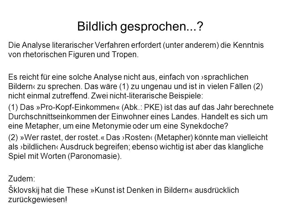 Bildlich gesprochen... Die Analyse literarischer Verfahren erfordert (unter anderem) die Kenntnis von rhetorischen Figuren und Tropen.