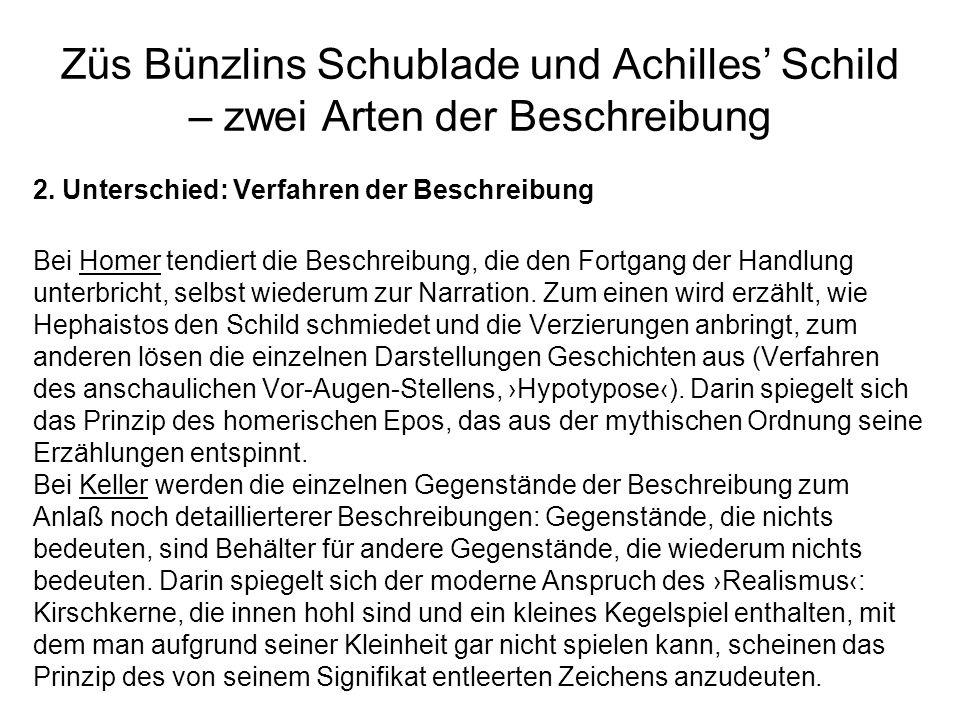 Züs Bünzlins Schublade und Achilles' Schild – zwei Arten der Beschreibung