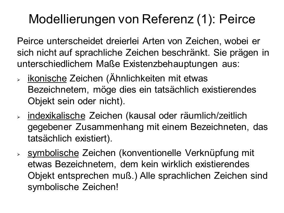Modellierungen von Referenz (1): Peirce