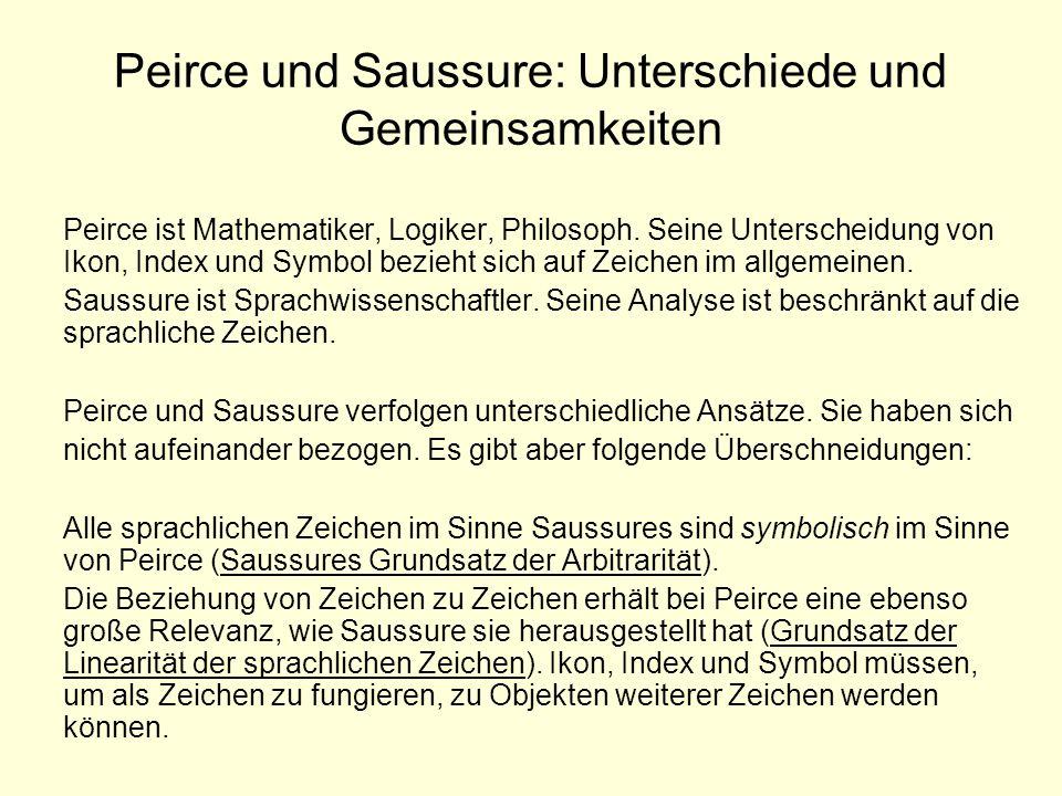 Peirce und Saussure: Unterschiede und Gemeinsamkeiten