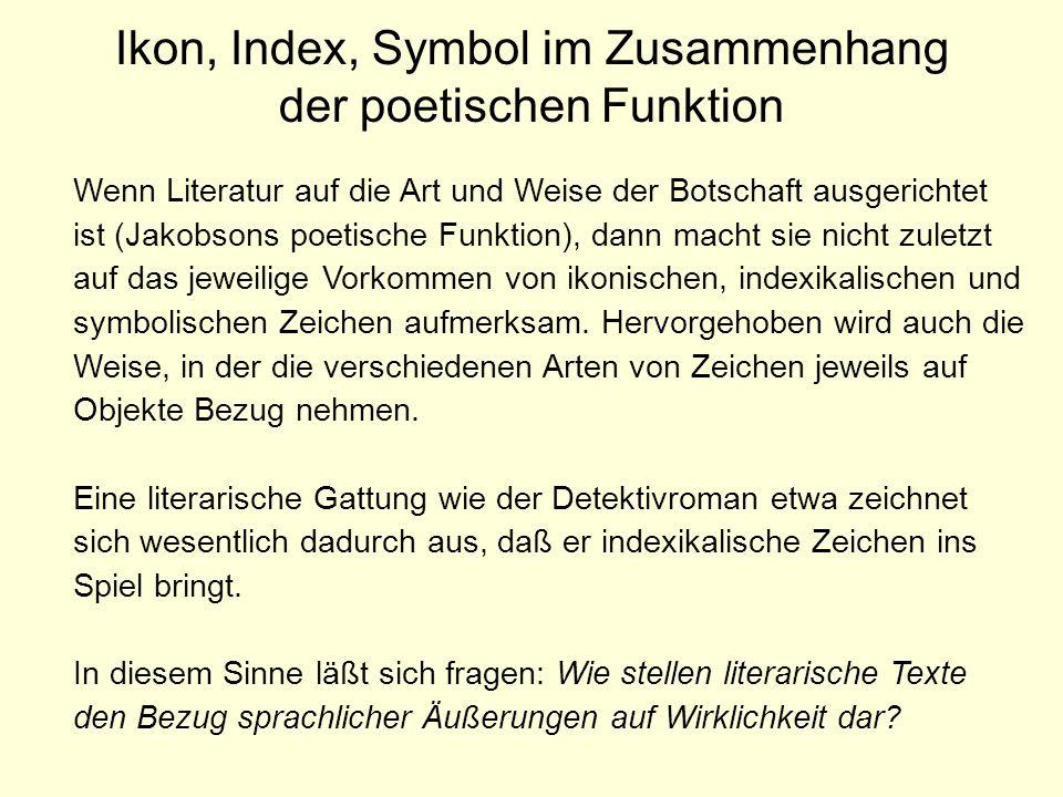 Ikon, Index, Symbol im Zusammenhang der poetischen Funktion