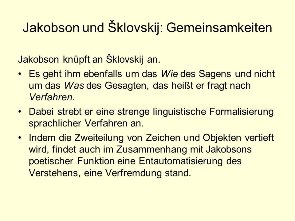 Jakobson und Šklovskij: Gemeinsamkeiten