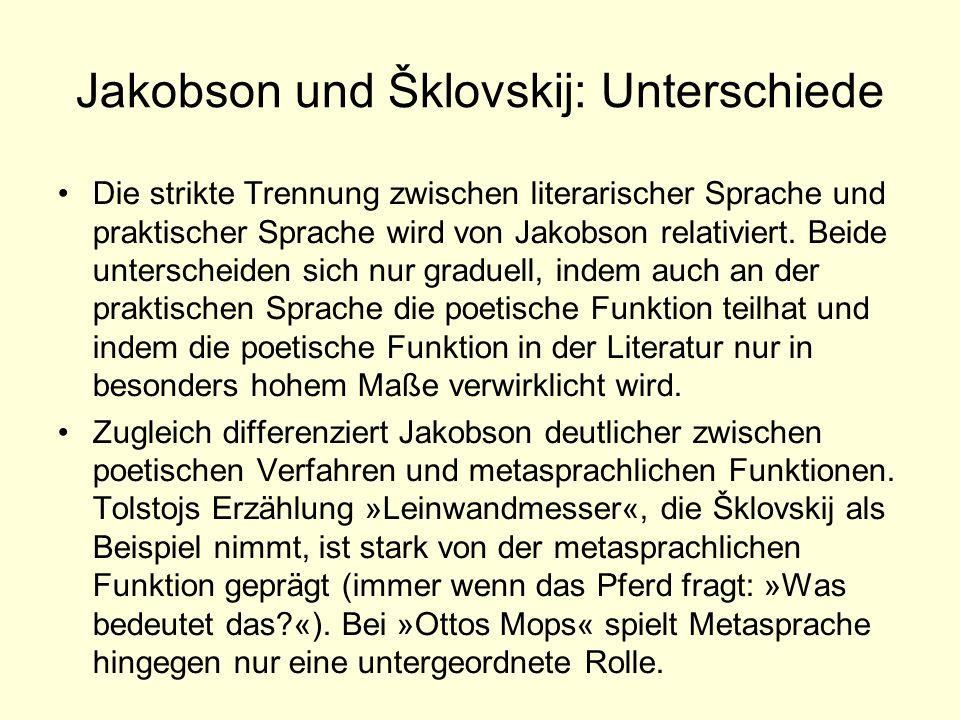 Jakobson und Šklovskij: Unterschiede