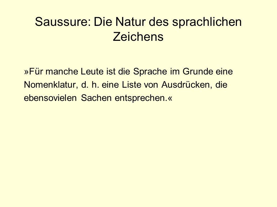 Saussure: Die Natur des sprachlichen Zeichens