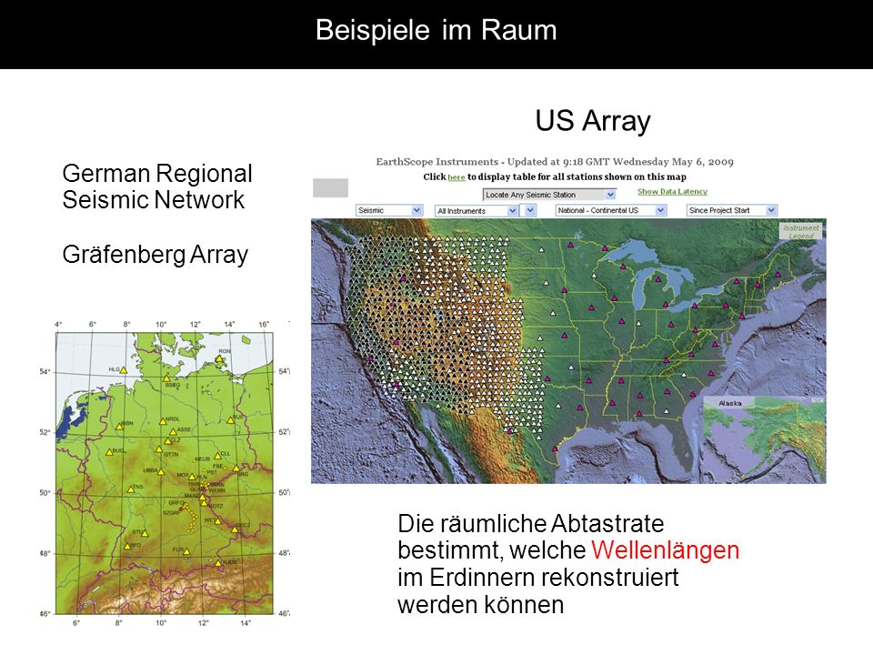 Beispiele im Raum US Array German Regional Seismic Network