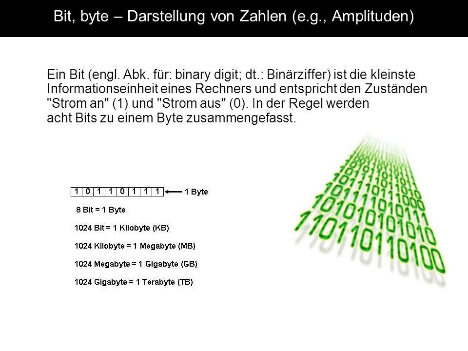 Bit, byte – Darstellung von Zahlen (e.g., Amplituden)