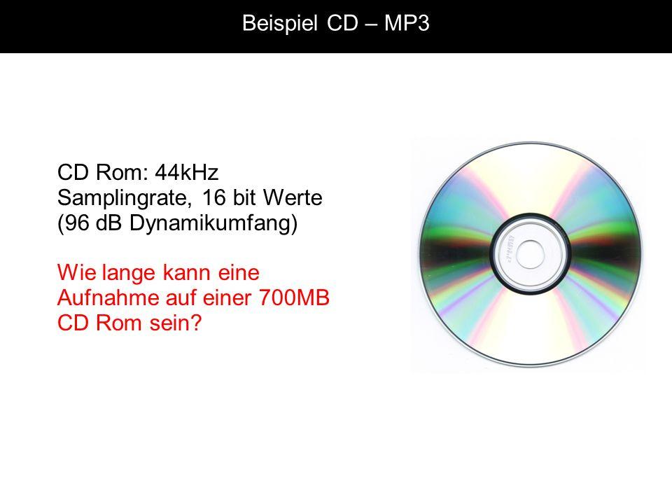 Beispiel CD – MP3 CD Rom: 44kHz Samplingrate, 16 bit Werte (96 dB Dynamikumfang) Wie lange kann eine Aufnahme auf einer 700MB CD Rom sein