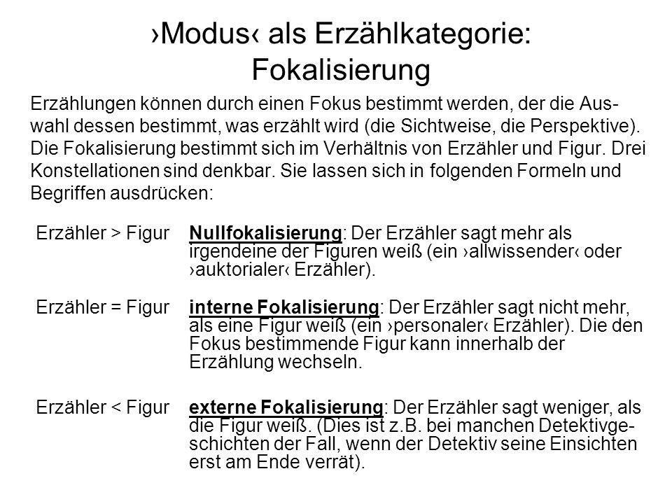 ›Modus‹ als Erzählkategorie: Fokalisierung