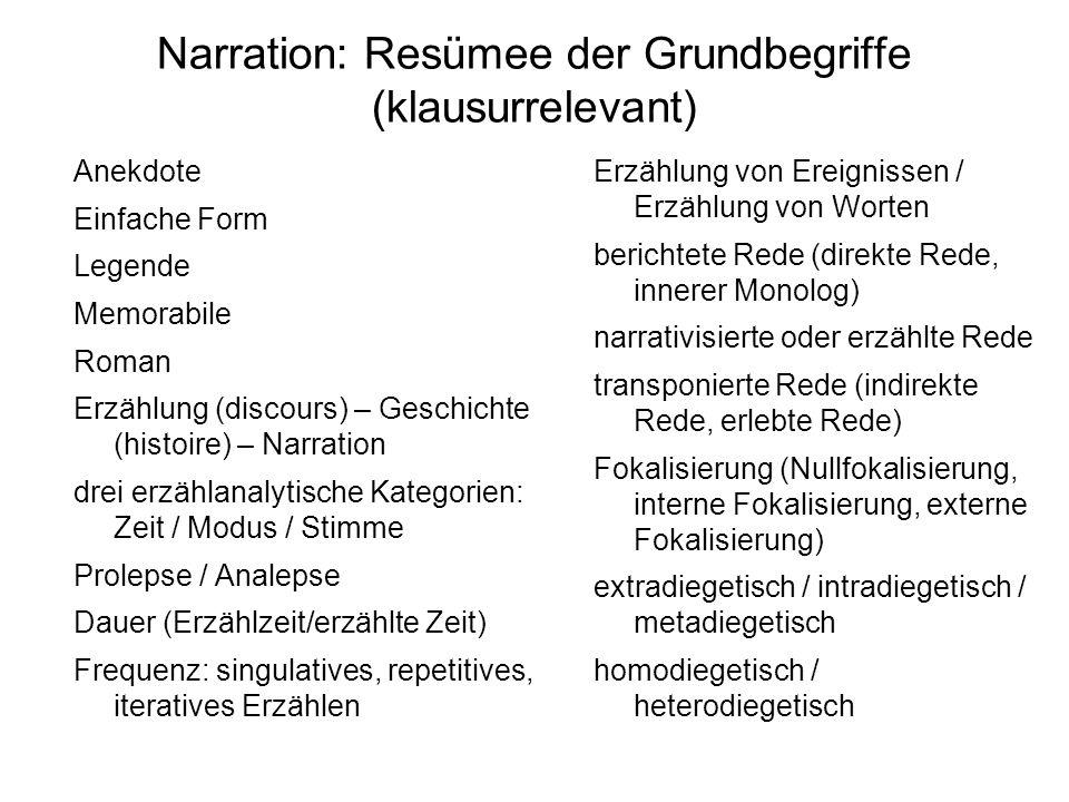 Narration: Resümee der Grundbegriffe (klausurrelevant)