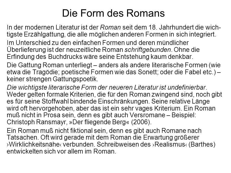Die Form des Romans