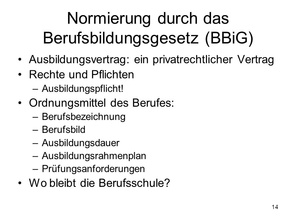 Normierung durch das Berufsbildungsgesetz (BBiG)