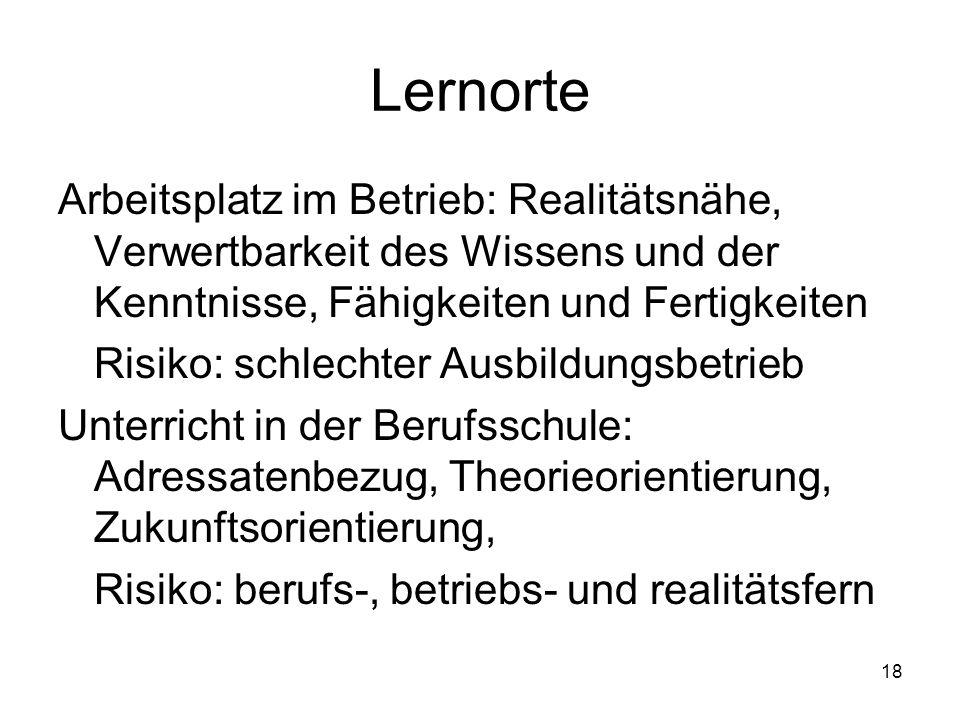 LernorteArbeitsplatz im Betrieb: Realitätsnähe, Verwertbarkeit des Wissens und der Kenntnisse, Fähigkeiten und Fertigkeiten.