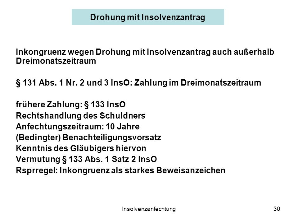Drohung mit Insolvenzantrag