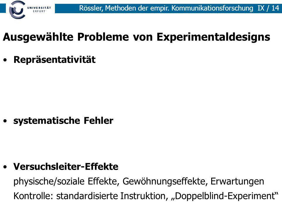Ausgewählte Probleme von Experimentaldesigns