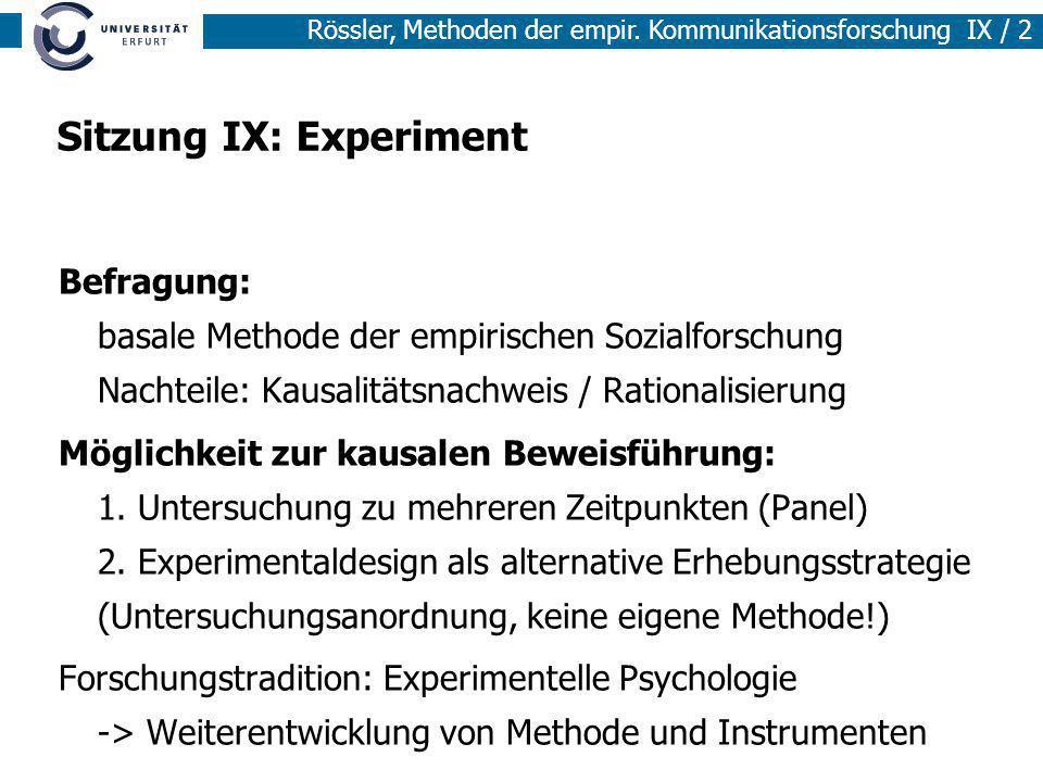 Sitzung IX: Experiment