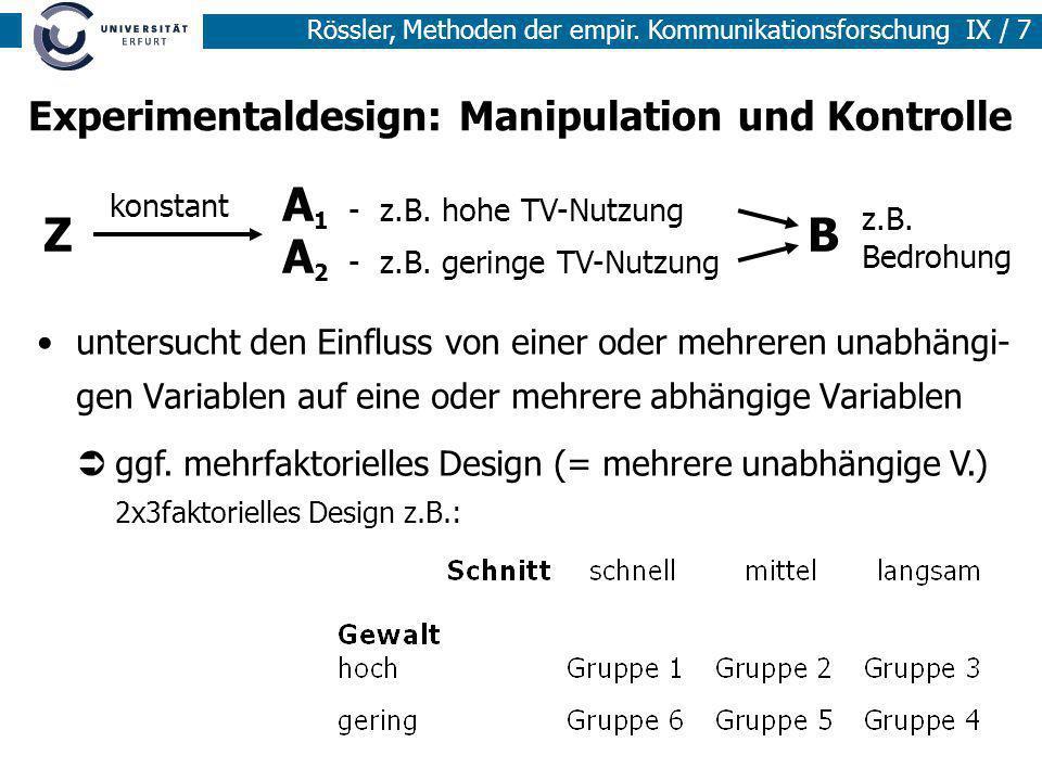 Experimentaldesign: Manipulation und Kontrolle