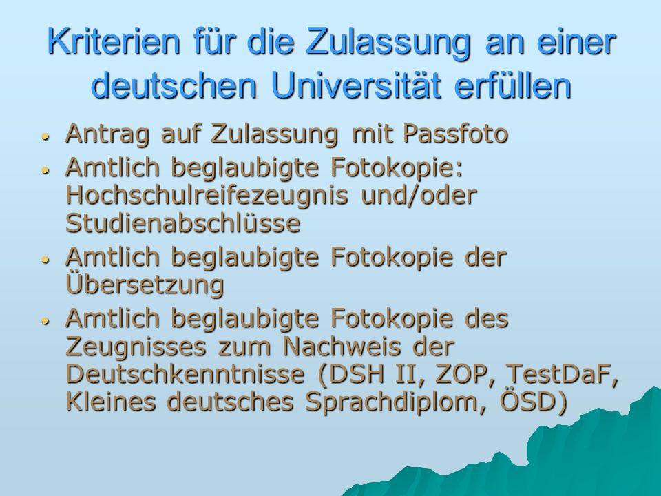 Kriterien für die Zulassung an einer deutschen Universität erfüllen