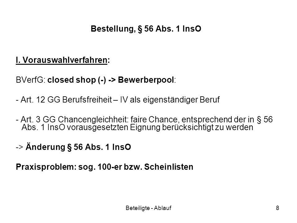 I. Vorauswahlverfahren: BVerfG: closed shop (-) -> Bewerberpool: