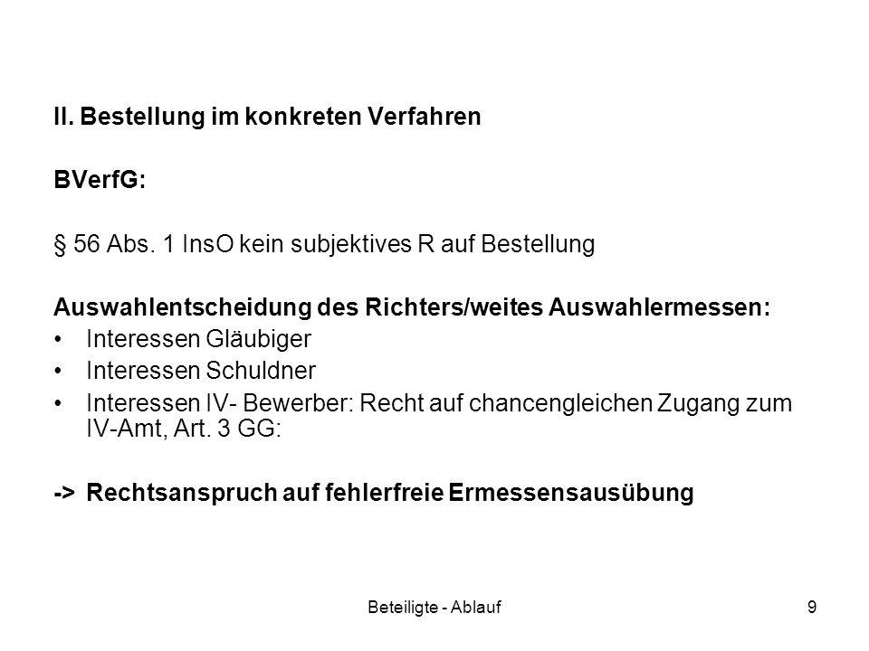 II. Bestellung im konkreten Verfahren BVerfG: