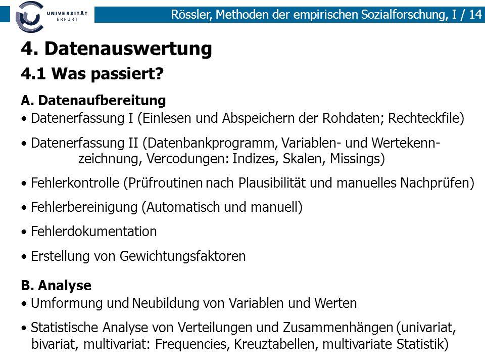 4. Datenauswertung 4.1 Was passiert A. Datenaufbereitung