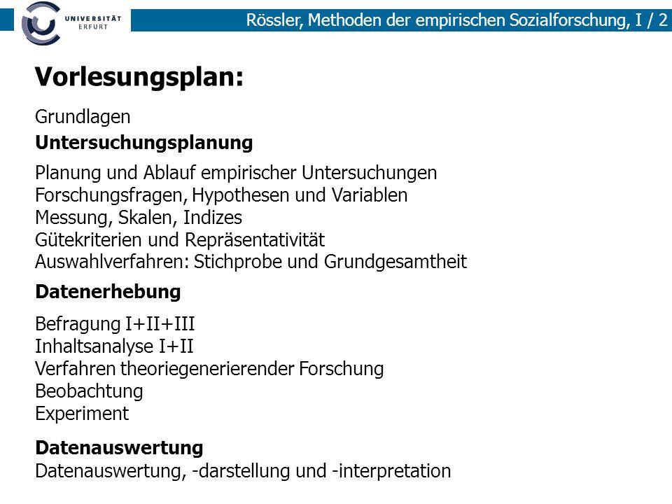 Vorlesungsplan: Grundlagen Untersuchungsplanung