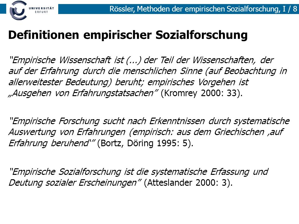 Definitionen empirischer Sozialforschung
