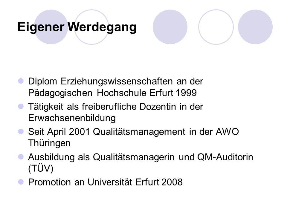 Eigener Werdegang Diplom Erziehungswissenschaften an der Pädagogischen Hochschule Erfurt 1999.