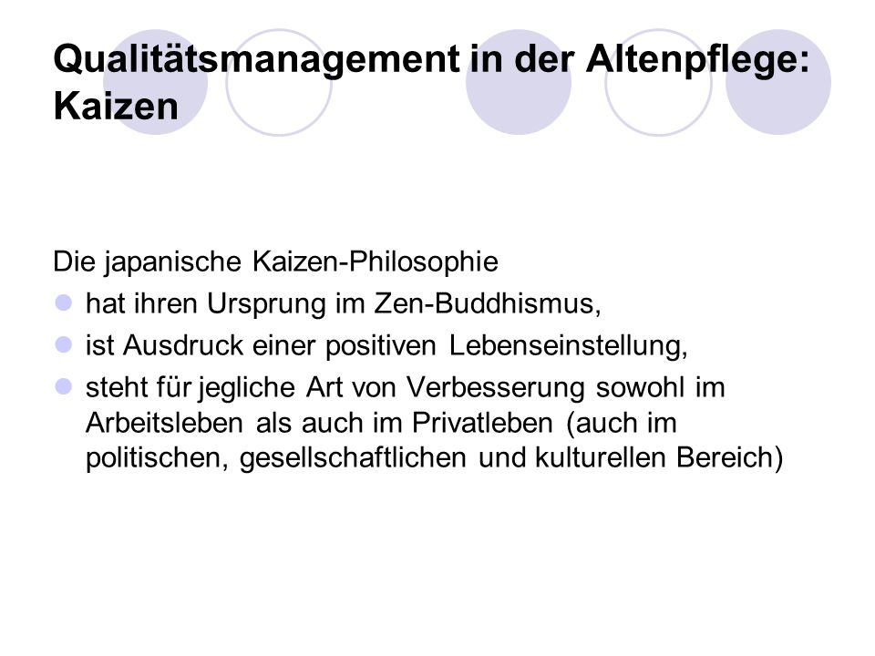 Qualitätsmanagement in der Altenpflege: Kaizen