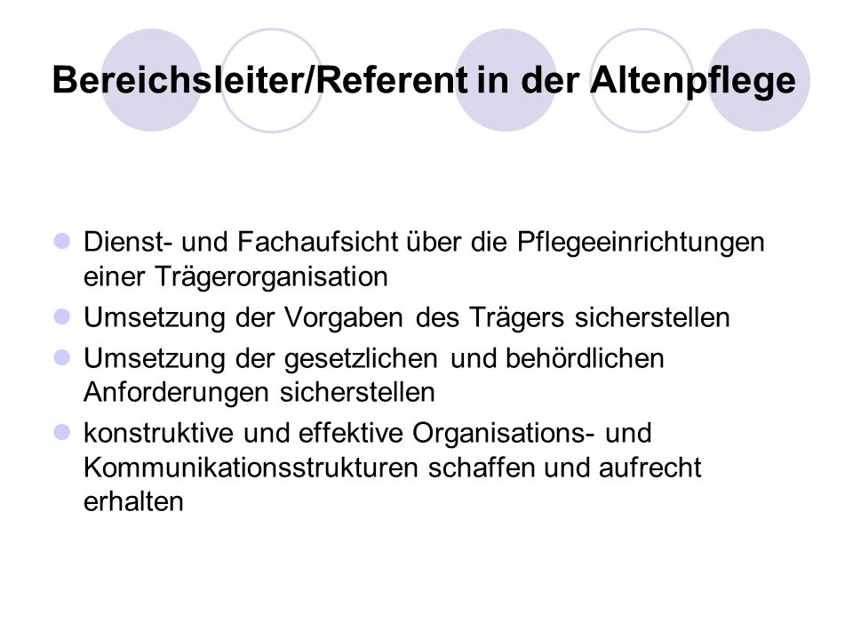 Bereichsleiter/Referent in der Altenpflege